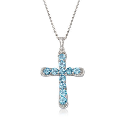 3.30 ct. t.w. Blue Topaz Cross Pendant Necklace in Sterling Silver, , default