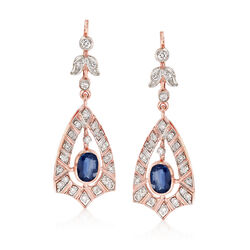 C. 2000 Vintage 1.50 ct. t.w. Sapphire and .80 ct. t.w. Diamond Drop Earrings in 14kt Rose Gold, , default