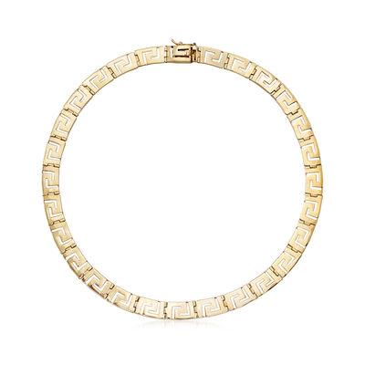 C. 1990 Vintage 14kt Yellow Gold Greek Key Necklace, , default