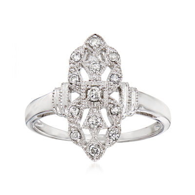 .20 ct. t.w. Diamond Art Deco-Style Ring in 14kt White Gold