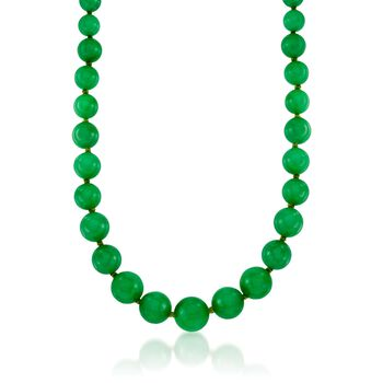 """7-14mm Jade Bead Necklace With 14kt Yellow Gold. 18"""", , default"""