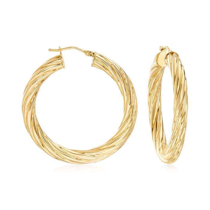 """Italian 14kt Yellow Gold Twisted Hoop Earrings. 1 1/2"""", , default"""