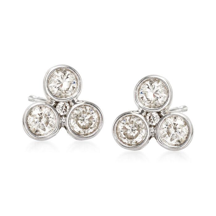 .50 ct. t.w. Bezel-Set Diamond Earrings in 14kt White Gold, , default