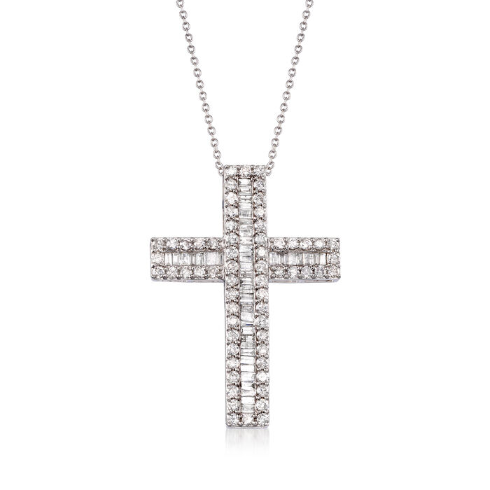 3.00 ct. t.w. Round and Baguette Diamond Cross Pendant Necklace in Sterling Silver, , default