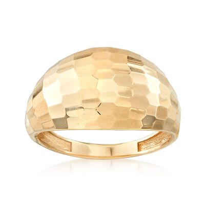 18kt Yellow Gold Diamond-Cut Dome Ring, , default