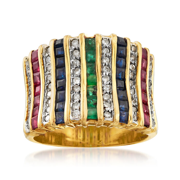 C. 1980 Vintage 3.55 ct. t.w. Multi-Gem and .75 ct. t.w. Diamond Ring in 18kt Yellow Gold. Size 8, , default