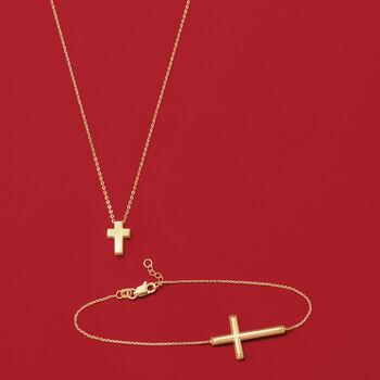 "14kt Yellow Gold Sideways Cross Bracelet. 8"", , default"
