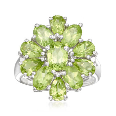5.00 ct. t.w. Peridot Cluster Ring in Sterling Silver