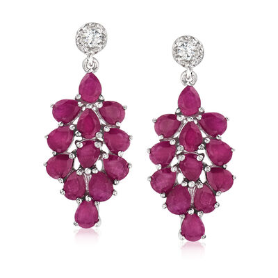 8.00 ct. t.w. Ruby and .20 ct. t.w. White Zircon Drop Earrings in Sterling Silver