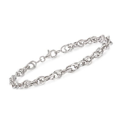 14kt White Gold Double Oval Interlocking Link Bracelet, , default