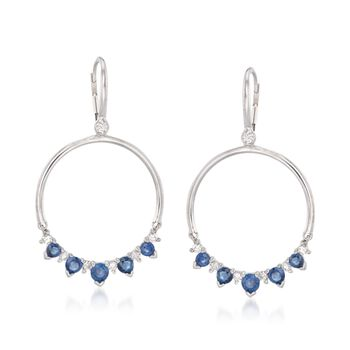 1.50 ct. t.w. Sapphire and .44 ct. t.w. Diamond Open Circle Drop Earrings in 14kt White Gold, , default