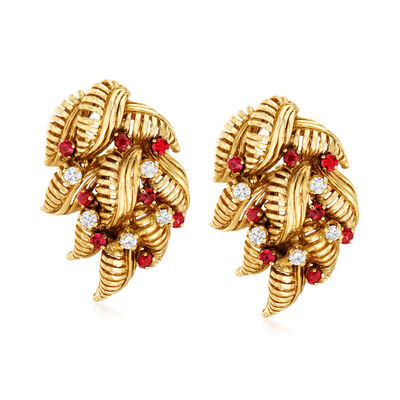 C. 1980 Vintage 1.00 ct. t.w. Ruby and .50 ct. t.w. Diamond Leaf Earrings in 14kt Yellow Gold, , default