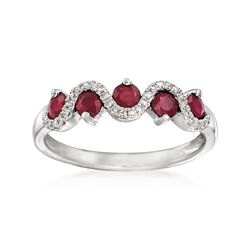 .70 ct. t.w. Ruby and .10 ct. t.w. Diamond Ring in 14kt White Gold, , default