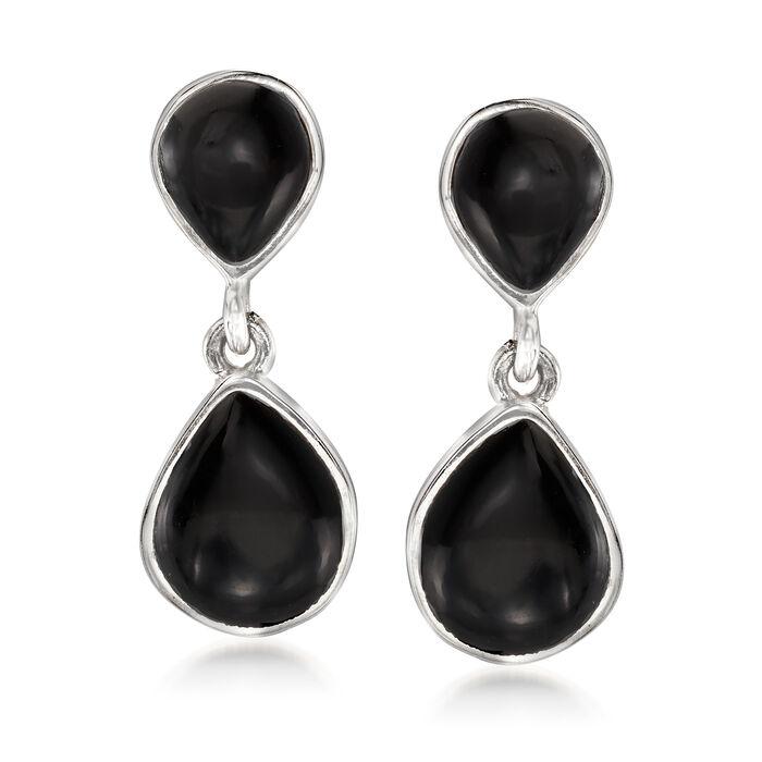 Black Onyx Drop Earrings in Sterling Silver