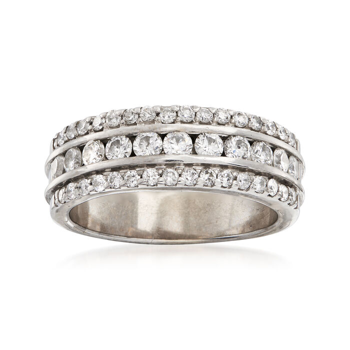 C. 1990 Vintage 1.00 ct. t.w. Diamond Band Ring in 14kt White Gold. Size 7, , default