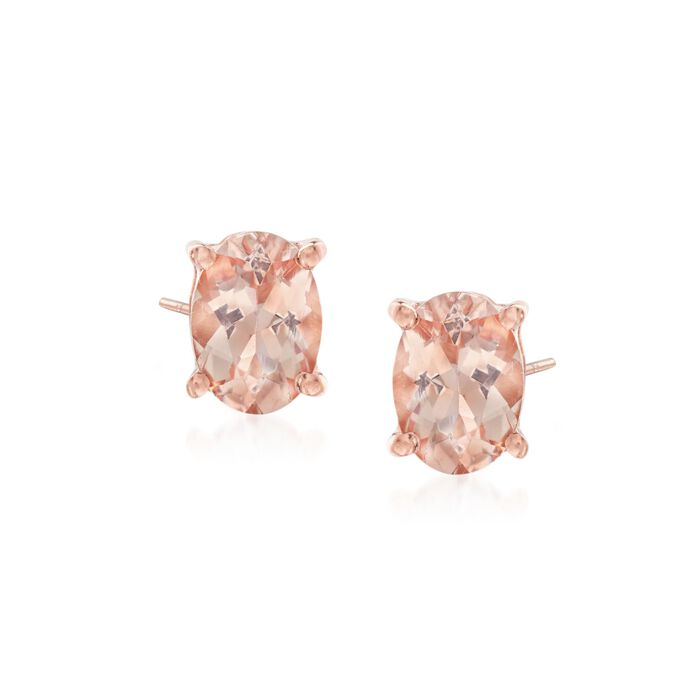 1.40 ct. t.w. Morganite Stud Earrings in 14kt Rose Gold Over Sterling