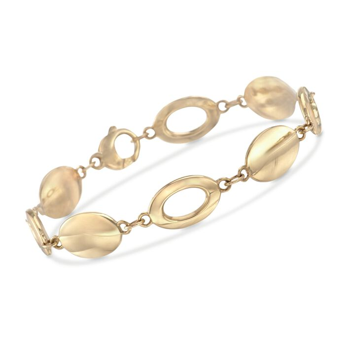 "14kt Yellow Gold Oval Disc and Link Bracelet. 7.25"", , default"