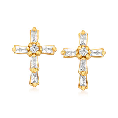 .22 ct. t.w. Baguette and Round Diamond Cross Earrings in 18kt Gold Over Sterling