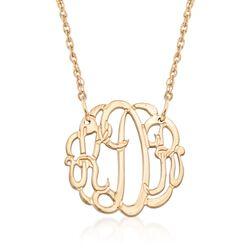14kt Gold Over Sterling Silver Petite Open Script Monogram Necklace, , default