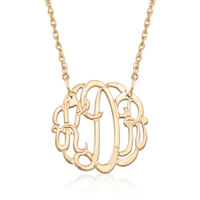 14kt Gold Over Sterling Silver Petite Open Script Monogram Necklace, , default
