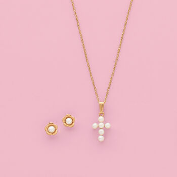 """Child's 2.5-3mm Cultured Pearl Cross Pendant Necklace in 14kt Yellow Gold. 15"""", , default"""