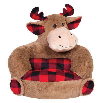 Children's Plush Buffalo Check Moose Chair, , default