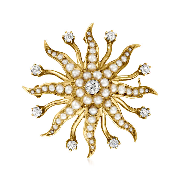 C. 1950 Vintage 4mm Cultured Pearl and 1.00 ct. t.w. Diamond Starburst Pin/Pendant in 14kt Yellow Gold