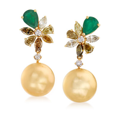 12-13mm Golden Cultured South Sea Pearl, 2.67 ct. t.w. Multicolored Diamond and 1.90 ct. t.w. Emerald Drop Earrings in 18kt Yellow Gold