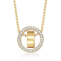 "Swarovski Crystal ""Hollow"" Pave Crystal Open Circle Necklace in Gold Plate. 15""   , , default"
