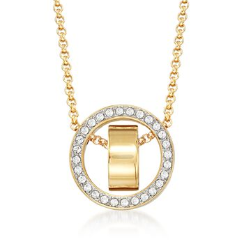 """Swarovski Crystal """"Hollow"""" Pave Crystal Open Circle Necklace in Gold Plate. 15""""   , , default"""