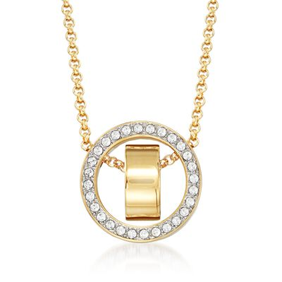 """Swarovski Crystal """"Hollow"""" Pave Crystal Open Circle Necklace in Gold Plate, , default"""
