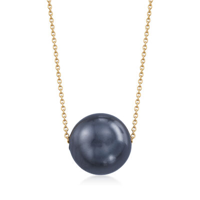 16mm Black Shell Pearl Solitaire Necklace in 18kt Gold Over Sterling, , default