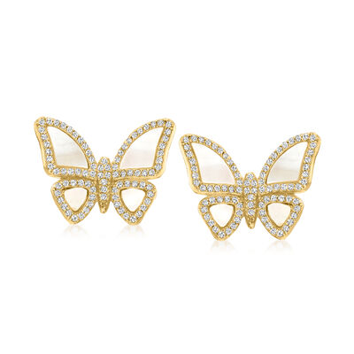Mother-Of-Pearl and 1.40 ct. t.w. White Topaz Butterfly Earrings in 18kt Gold Over Sterling