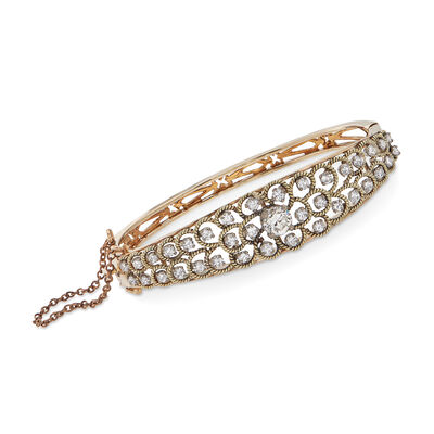 C. 1980 Vintage 2.60 ct. t.w. Diamond Floral Openwork Bangle Bracelet in 14kt Yellow Gold, , default