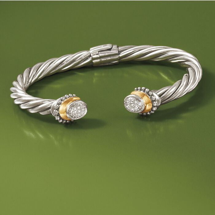 Sterling Silver Cable Cuff Bracelet with 18kt Yellow Gold and Diamond Accents