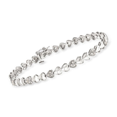 .25 ct. t.w. Diamond Heart Bracelet in Sterling Silver