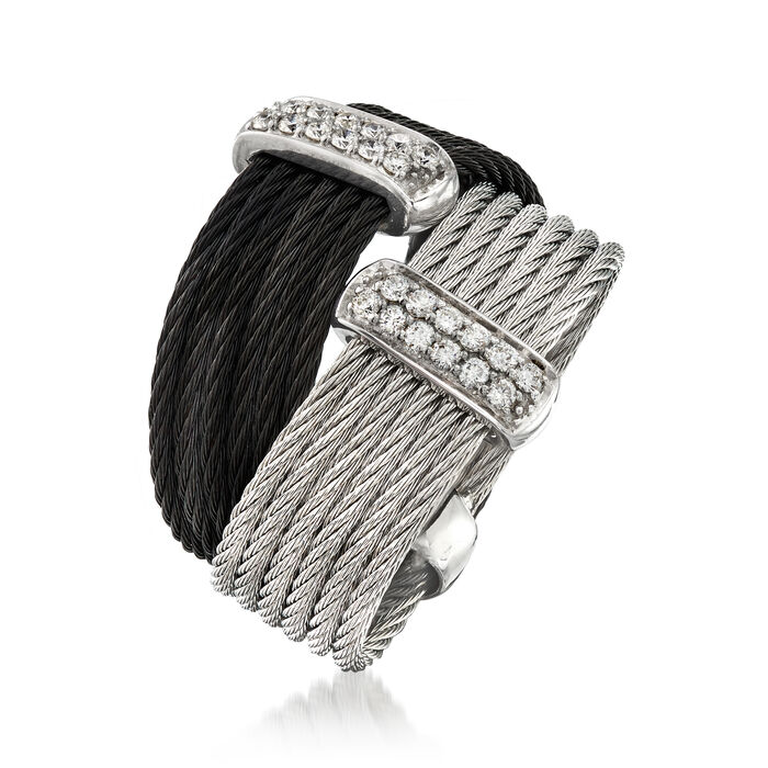 """ALOR """"Noir"""" Collection .20 ct. t.w. Diamond Two-Tone Stainless Steel Cable Ring in 18kt White Gold"""