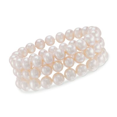 Cultured Pearl Jewelry Set: Three Stretch Bracelets