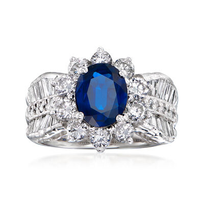 C. 1980 Vintage 1.76 Carat Sapphire and 1.85 ct. t.w. Diamond Floral Ring in Platinum