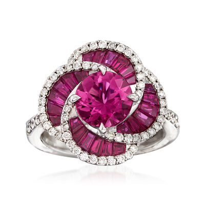1.80 Carat Pink Tourmaline and 1.30 ct. t.w. Ruby with .53 ct. t.w. Diamond Ring in 14kt White Gold