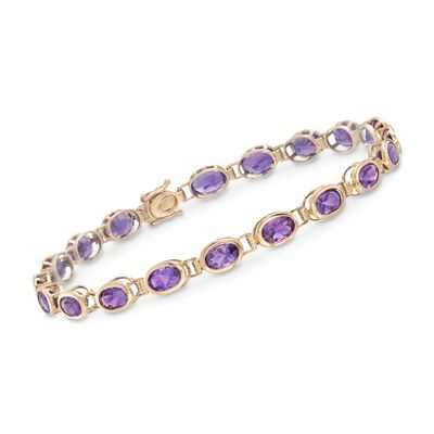8.50 ct. t.w. Amethyst Tennis Bracelet in 14kt Yellow Gold, , default