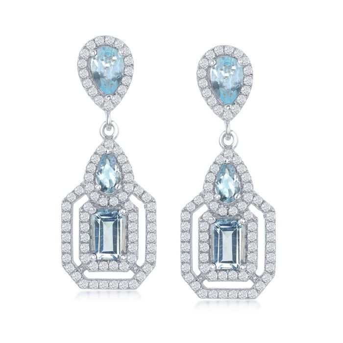 4.30 ct. t.w. Blue and White Topaz Drop Earrings in Sterling Silver, , default