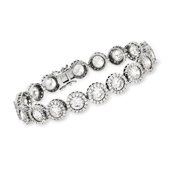 """22.30 ct. t.w. CZ Halo Bracelet in Sterling Silver. 7.25"""", , default"""