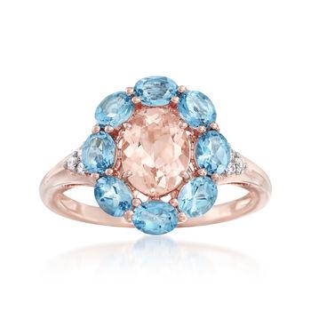 1.10 Carat Morganite and 1.30 ct. t.w. Santa Maria Aquamarine Ring With Diamonds in 14kt Rose Gold, , default