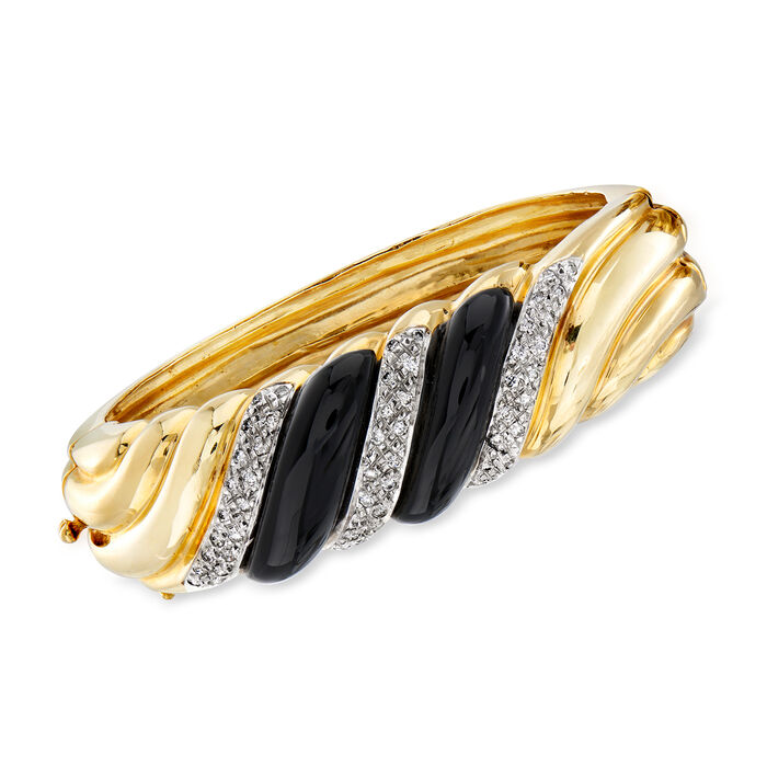 C. 1980 Vintage Onyx and 1.10 ct. t.w. Diamond Shrimp Bangle Bracelet in 14kt Yellow Gold. 7""