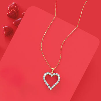 .30 ct. t.w. Diamond Heart Pendant Necklace in 18kt Gold Over Sterling, , default