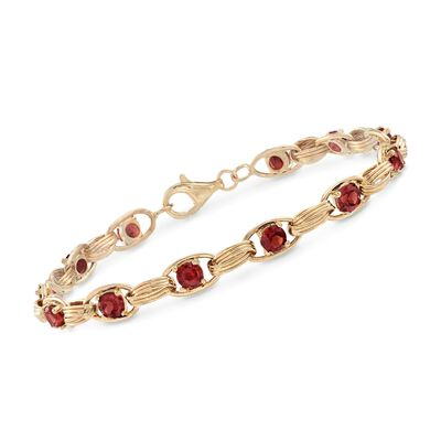 3.40 ct. t.w. Garnet Oval-Link Bracelet in 14kt Yellow Gold