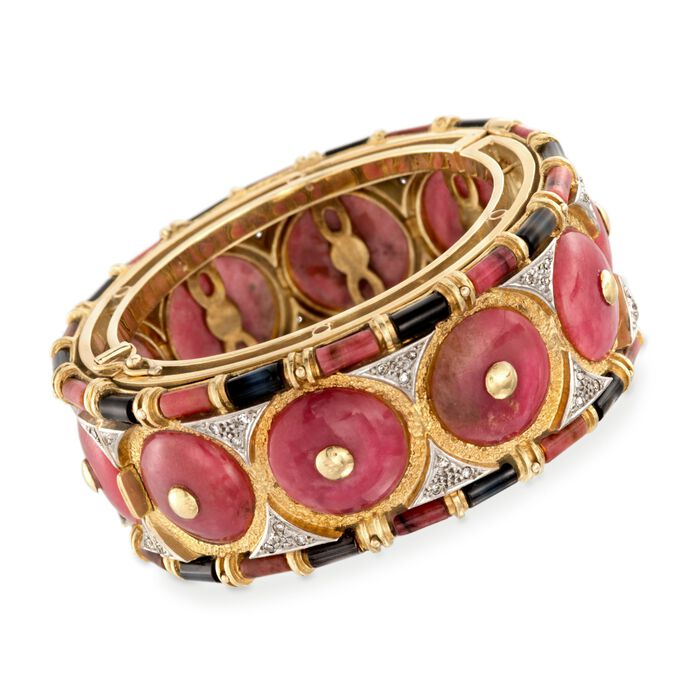 "C. 1980 Vintage Pink and Black Nephrite and .25 ct. t.w. Diamond Bangle Bracelet in 18kt Yellow Gold. 6"", , default"
