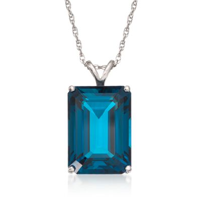 14.20 Carat London Blue Topaz Pendant Necklace in Sterling Silver, , default