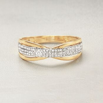 .14 ct. t.w. Diamond Openwork Ring in 14kt Yellow Gold. Size 8, , default